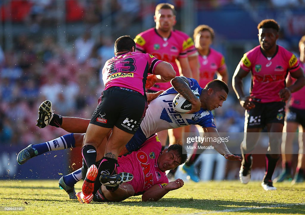 Michael Lichaa of the Bulldogs scores a try during the NRL Trial match between the Canterbury Bulldogs and the Penrith Panthers at Pepper Stadium on February 13, 2016 in Sydney, Australia.