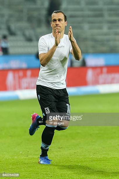 Michael Liendl of 1860 Muenchen gestures during the Second Bandesliga match between TSV 1860 Muenchen and SpVgg Greuther Fuerth at Allianz Arena on...