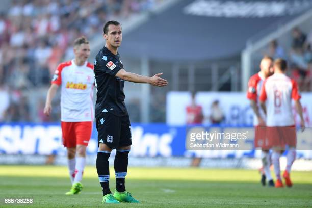 Michael Liendl of 1860 Muenchen gestures during the Second Bundesliga Playoff first leg match between Jahn Regensburg and TSV 1860 Muenchen at...