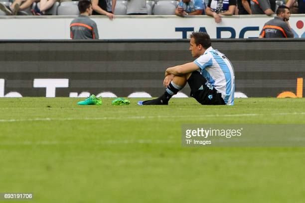 Michael Liendl of 1860 Munich looks dejected during the Second Bundesliga Playoff second leg match between TSV 1860 Muenchen and Jahn Regensburg at...