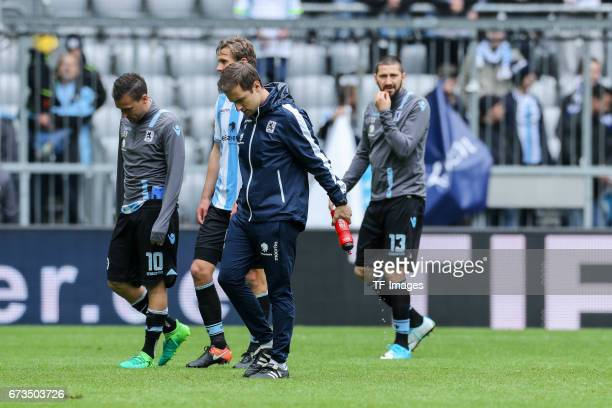 Michael Liendl of 1860 Munich Sascha Moelders of 1860 Munich looks dejected during the Second Bundesliga match between TSV 1860 Muenchen and SV...