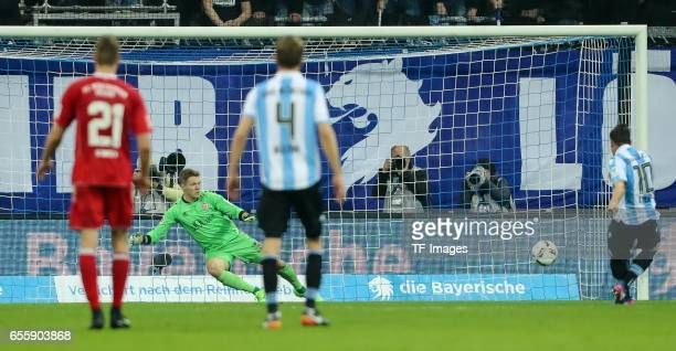 Michael Liendl of 1860 Munich scores a goal during the Second Bundesliga match between TSV 1860 Muenchen and FC Wuerzburger Kickers at Allianz Arena...