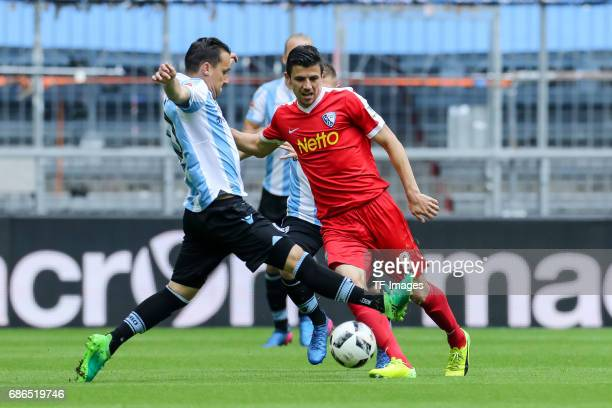 Michael Liendl of 1860 Munich und Anthony Losilla of Bochum battle for the ball during the Second Bundesliga match between TSV 1860 Muenchen and VfL...
