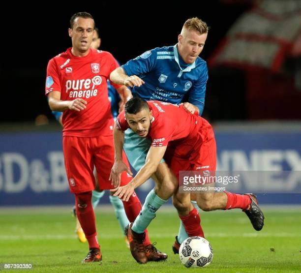 Michael liendl of FC Twente Mike van Duinen of Excelsior Oussama Assaidi of FC Twente during the Dutch Eredivisie match between Fc Twente v Excelsior...