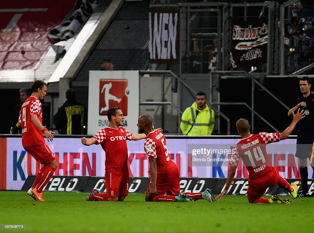 Michael Liendl of Fortuna Duesseldorf celebrates as he scores their first goal during the Second Bundesliga match between Fortuna Duesseldorf and FC...