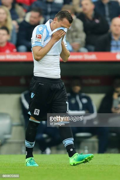 Michael Liendl of1860 Muenchen gestures during the Second Bundesliga match between TSV 1860 Muenchen and VfB Stuttgart at Allianz Arena on April 5...