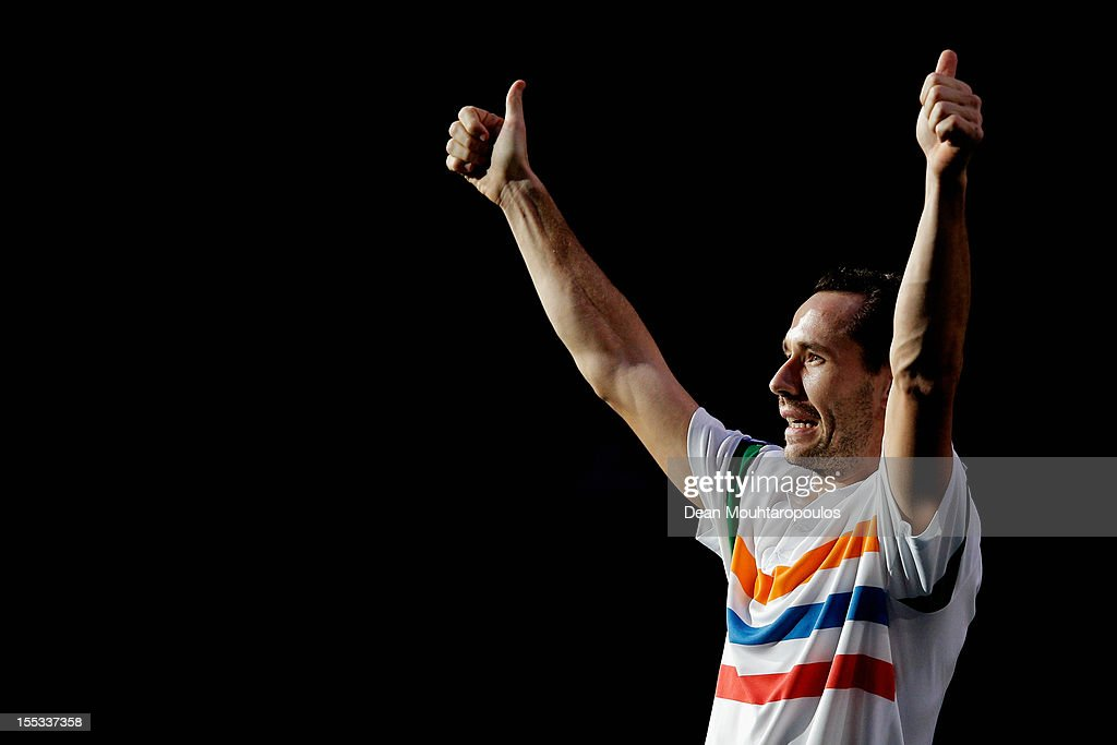 <a gi-track='captionPersonalityLinkClicked' href=/galleries/search?phrase=Michael+Llodra&family=editorial&specificpeople=208919 ng-click='$event.stopPropagation()'>Michael Llodra</a> of France celebrates his victory against Sam Querrey of USA in the Quarter Finals on day 5 of the BNP Paribas Masters at Palais Omnisports de Bercy on November 2, 2012 in Paris, France.