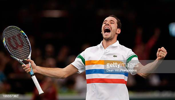 Michael Llodra of France celebrates his victory against Sam Querrey of USA in the Quarter Finals on day 5 of the BNP Paribas Masters at Palais...