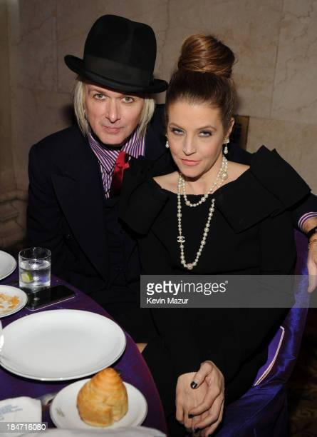 Michael Lockwood and Lisa Marie Presley attend the Elton John AIDS Foundation's 12th Annual An Enduring Vision Benefit at Cipriani Wall Street on...