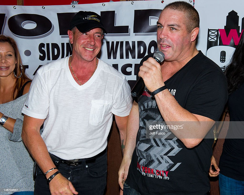 Michael Lohan and Damon Feldman attend the Celebrity Pillow Fight Press Conference and Weigh In at the Fox And Hound Pub and Grille on June 22 2012...