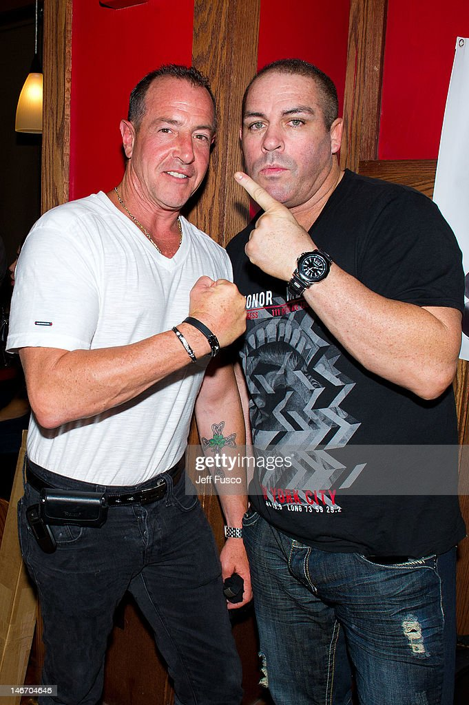 Michael Lohan and Damon Feldman pose at the Celebrity Pillow Fight Press Conference and Weigh In at the Fox And Hound Pub and Grille on June 22 2012...