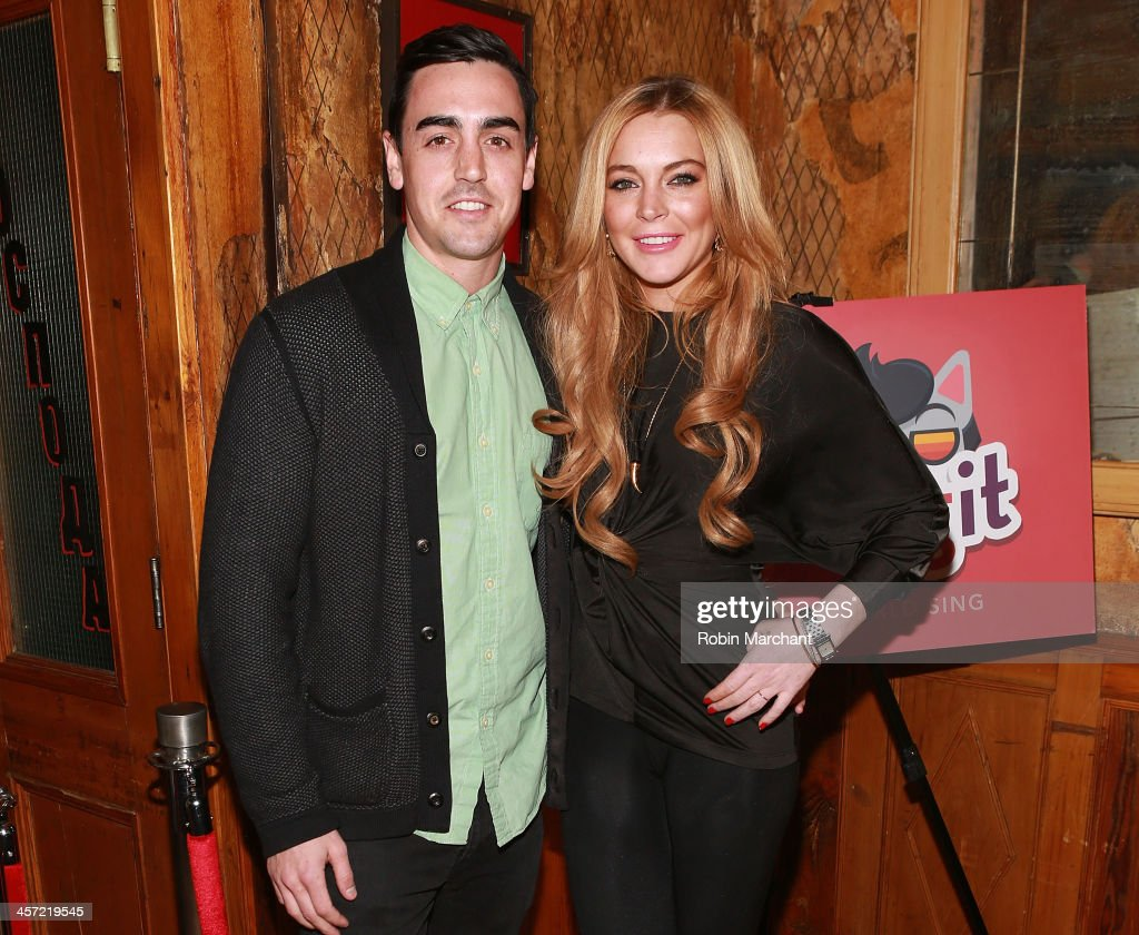 Michael Lohan Jr. (L) and <a gi-track='captionPersonalityLinkClicked' href=/galleries/search?phrase=Lindsay+Lohan&family=editorial&specificpeople=171623 ng-click='$event.stopPropagation()'>Lindsay Lohan</a> attend the 'Just Sing It' app launch event at Pravda on December 16, 2013 in New York City.