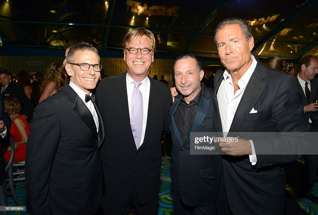 Michael Lombardo, President of HBO Programming, Executive producer <a gi-track='captionPersonalityLinkClicked' href=/galleries/search?phrase=Aaron+Sorkin&family=editorial&specificpeople=673535 ng-click='$event.stopPropagation()'>Aaron Sorkin</a>, Executive producer <a gi-track='captionPersonalityLinkClicked' href=/galleries/search?phrase=Alan+Poul&family=editorial&specificpeople=2082627 ng-click='$event.stopPropagation()'>Alan Poul</a>, and <a gi-track='captionPersonalityLinkClicked' href=/galleries/search?phrase=Richard+Plepler&family=editorial&specificpeople=584118 ng-click='$event.stopPropagation()'>Richard Plepler</a>, HBO Chief Executive Officer attend HBO's official Emmy after party at The Plaza at the Pacific Design Center on September 22, 2013 in Los Angeles, California.
