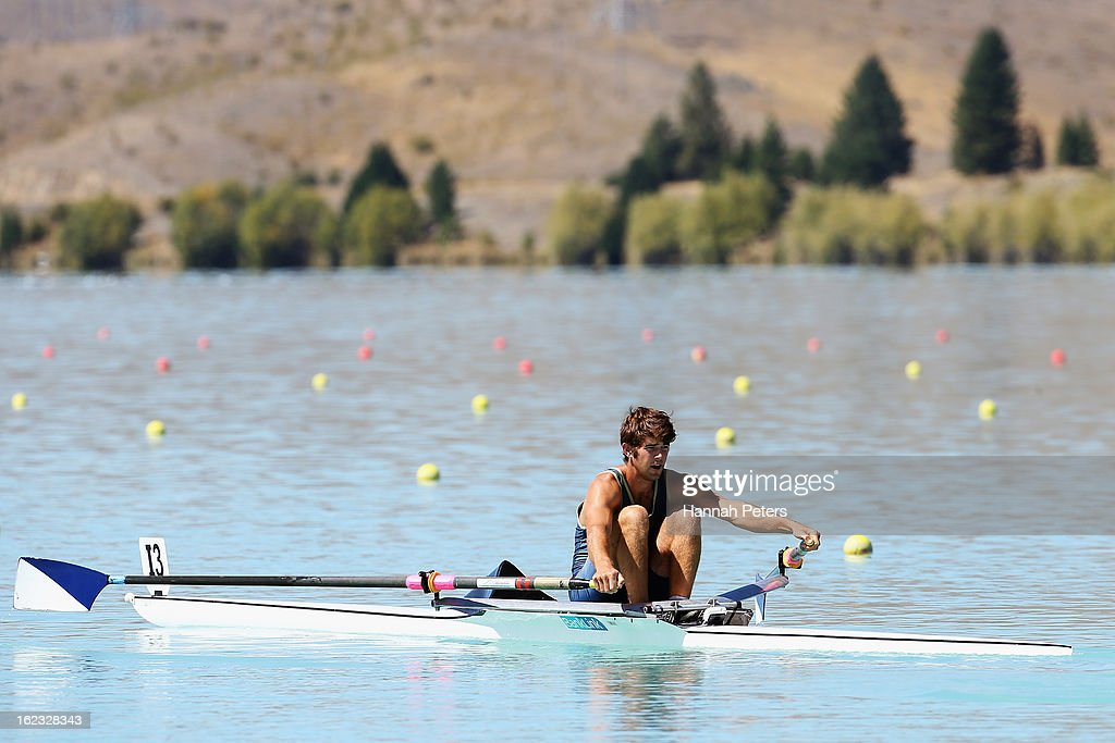 Michael Longuet-Higgins of Auckland competes in the Men's U22 1X final during the New Zealand Rowing Championships at Lake Ruataniwha on February 22, 2013 in Twizel, New Zealand.