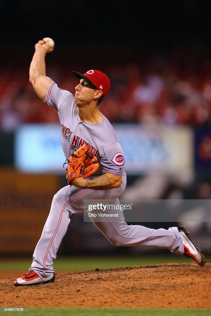 Michael Lorenzen #21 of the Cincinnati Reds pitches against the St. Louis Cardinals in the eighth inning at Busch Stadium on September 13, 2017 in St. Louis, Missouri.