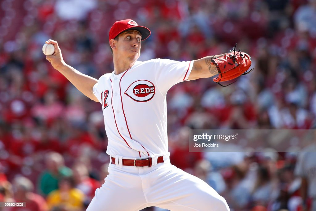 Michael Lorenzen #21 of the Cincinnati Reds pitches in the ninth inning of the game against the Milwaukee Brewers at Great American Ball Park on April 15, 2017 in Cincinnati, Ohio. The Reds defeated the Brewers 7-5. All players are wearing #42 in honor of Jackie Robinson Day.