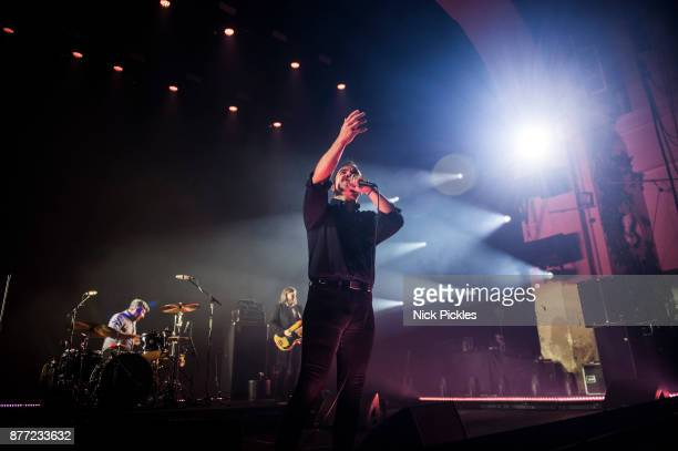 Michael Lowry William Cashion and Samuel T Herring of Future Islands perform at O2 Academy Brixton on November 21 2017 in London England