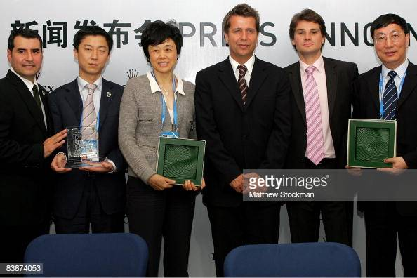 Michael Luevano Leon Sun Sun Jinfang CEO of ATP International Brad Drewett Arnaud Boetsch and Qiu Weichang pose for photographers after a press...
