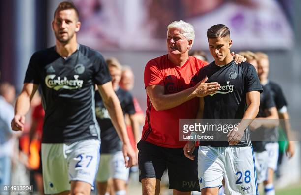 Michael Luftner and Pieros Sotiriou of FC Copenhagen leaving the pitch after the warm up prior to the Danish Alka Superliga match between FC...