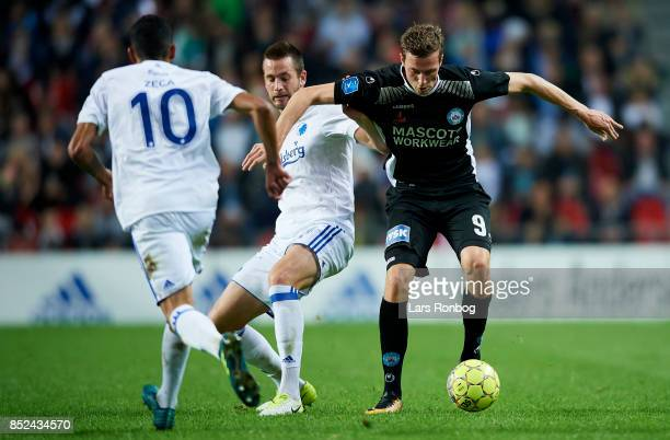 Michael Luftner of FC Copenhagen and Gustaf Nilsson of Silkeborg IF compete for the ball during the Danish Alka Superliga match between FC Copenhagen...