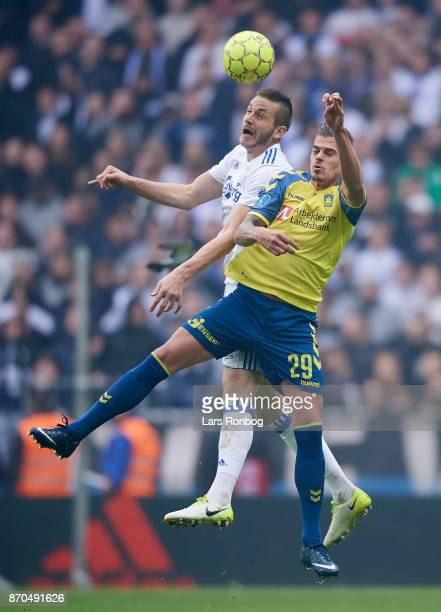 Michael Luftner of FC Copenhagen and Jan Kliment of Brondby IF compete for the ball during the Danish Alka Superliga match between FC Copenhagen and...