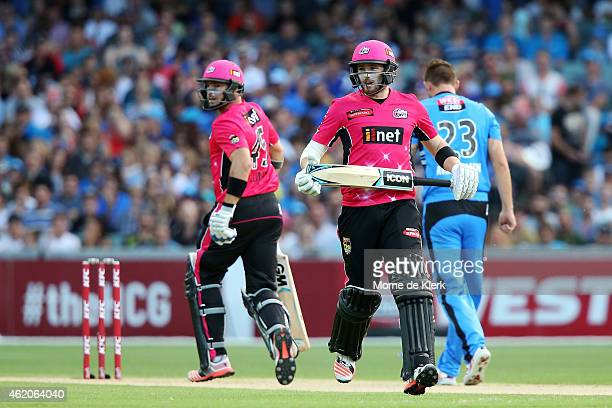 Michael Lumb and Riki Wessels of the Sydney Sixers runs between the wickets during the Big Bash League Semi FInal match between the Adelaide Strikers...
