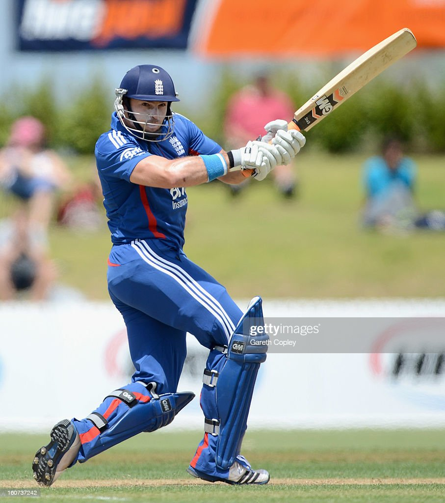 Michael Lumb of England bats during a T20 Practice Match between New Zealand XI and England at Cobham Oval on February 5, 2013 in Whangarei, New Zealand.