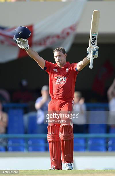 Michael Lumb of England celebrates reaching his century during the 1st One Day International between West Indies and England at Sir Viv Richards...