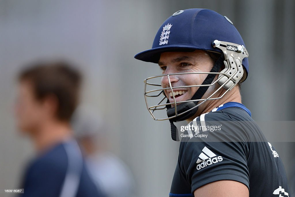 Michael Lumb of England waits to bat during an England nets session at Eden Park on February 8, 2013 in Auckland, New Zealand.