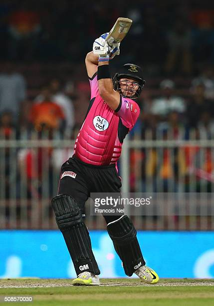 Michael Lumb of Libra Legends bats during the Oxigen Masters Champions League match between Capricorn Commanders and Libra Legends on February 5 2016...
