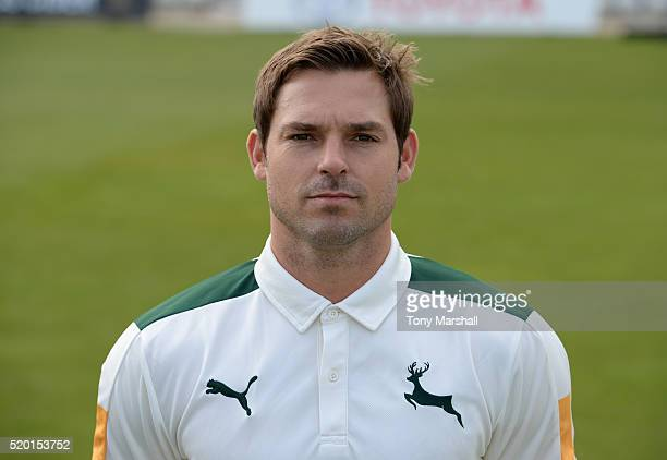 Michael Lumb of Nottinghamshire CCC poses for a photograph during the Nottinghamshire CCC Photocall at Trent Bridge on April 8 2016 in Nottingham...