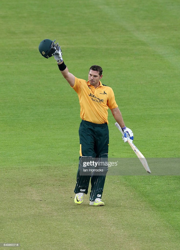 <a gi-track='captionPersonalityLinkClicked' href=/galleries/search?phrase=Michael+Lumb+-+Cricketer&family=editorial&specificpeople=6946049 ng-click='$event.stopPropagation()'>Michael Lumb</a> of Nottinghamshire celebrates after reaching 100 during the Royal London One Day Cup match between Durham and Nottinghamshire at Emirates Durham ICG on June 15, 2016 in Chester-le-Street, England.