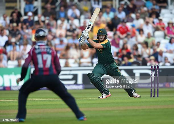 Michael Lumb of Nottinghamshire hits the ball to the boundary during the NatWest T20 Blast match between Nottinghamshire Outlaws and Northamptonshire...