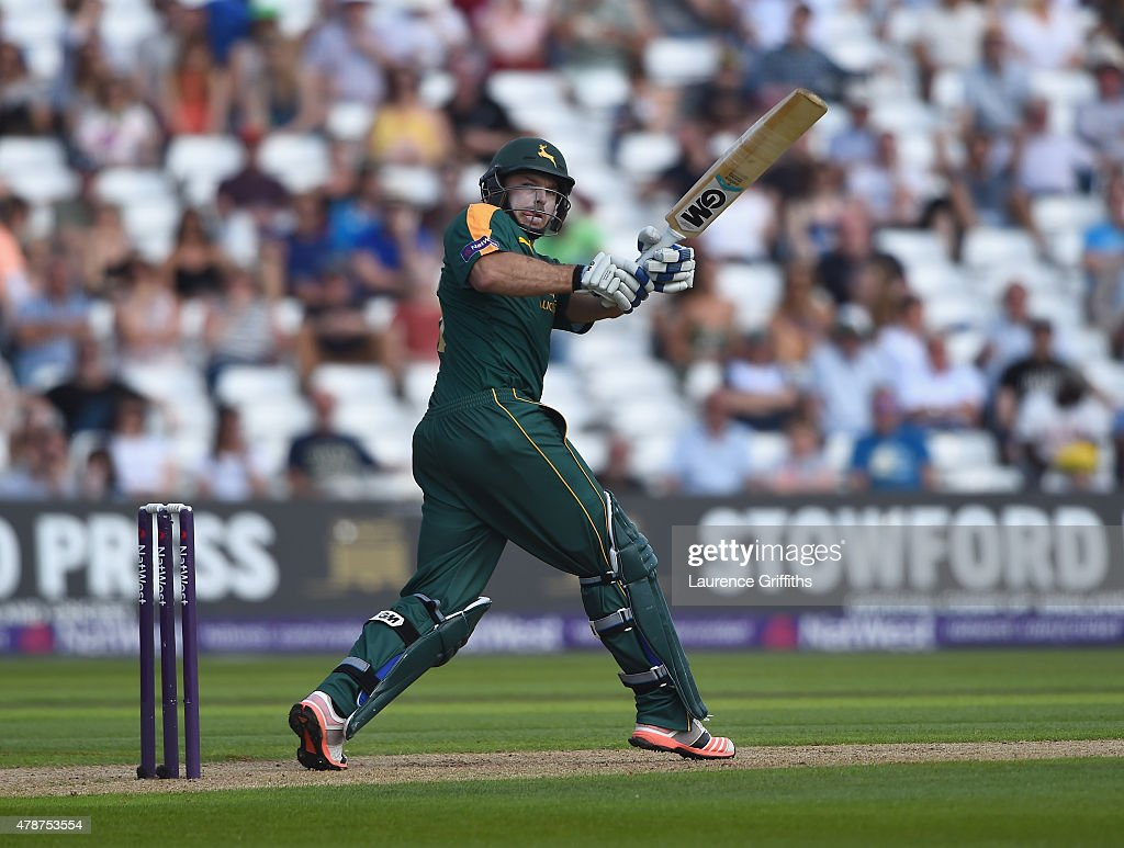 <a gi-track='captionPersonalityLinkClicked' href=/galleries/search?phrase=Michael+Lumb+-+Cricketer&family=editorial&specificpeople=6946049 ng-click='$event.stopPropagation()'>Michael Lumb</a> of Nottinghamshire hits the ball to the boundary during the NatWest T20 Blast match between Nottinghamshire Outlaws and Northamptonshire Steelbacks at Trent Bridge on June 27, 2015 in Nottingham, England.