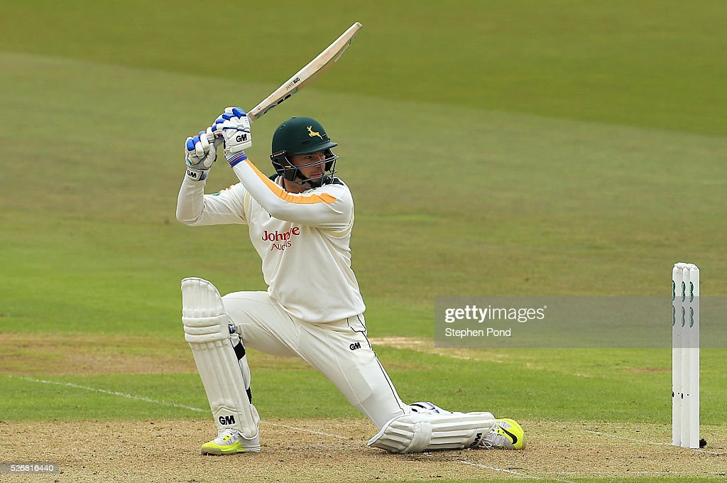 <a gi-track='captionPersonalityLinkClicked' href=/galleries/search?phrase=Michael+Lumb+-+Cricketer&family=editorial&specificpeople=6946049 ng-click='$event.stopPropagation()'>Michael Lumb</a> of Nottinghamshire in action batting during day one of the Specsavers County Championship Division One match between Nottinghamshire and Yorkshire at Trent Bridge on May 1, 2016 in Nottingham, England.