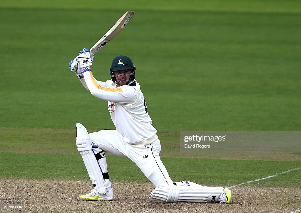 <a gi-track='captionPersonalityLinkClicked' href=/galleries/search?phrase=Michael+Lumb+-+Cricketer&family=editorial&specificpeople=6946049 ng-click='$event.stopPropagation()'>Michael Lumb</a> of Nottinghamshire scores four runs during the Specsavers County Championship division one match between Nottinghamshire and Yorkshire at the Trent Bridge on May 3, 2016 in Nottingham, England.