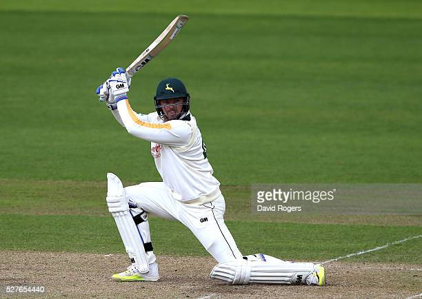 Michael Lumb of Nottinghamshire scores four runs during the Specsavers County Championship division one match between Nottinghamshire and Yorkshire...