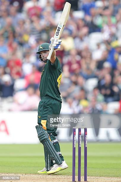 Michael Lumb of Notts Outlaws salutes the crowd on achieving fifty runs during the NatWest T20 Blast match between Notts Outlaws and Lancashire...