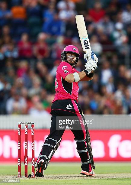 Michael Lumb of the Sixers bats during the Big Bash League final match between the Sydney Sixers and the Perth Scorchers at Manuka Oval on January 28...