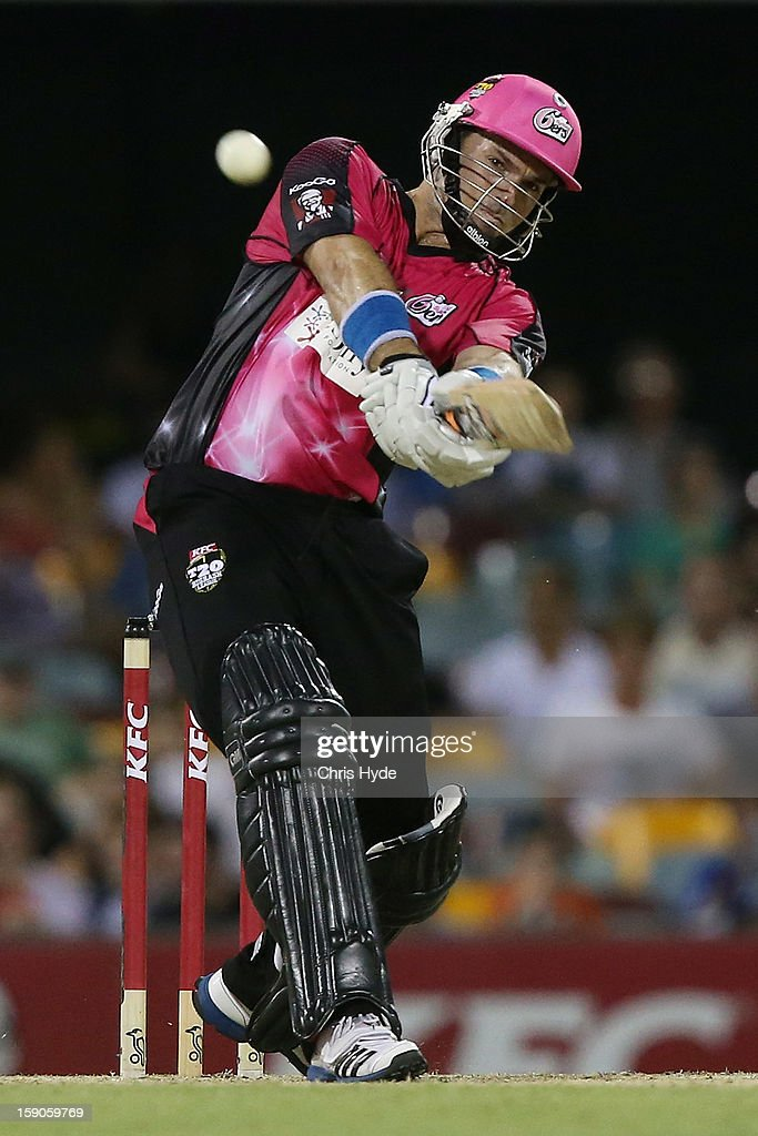 Michael Lumb of the Sixers bats during the Big Bash League match between the Brisbane Heat and the Sydney Sixers at The Gabba on January 7, 2013 in Brisbane, Australia.