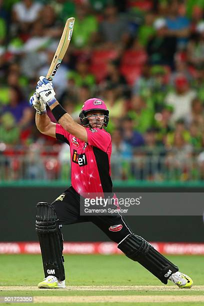 Michael Lumb of the Sixers bats during the Big Bash League match between the Sydney Thunder and the Sydney Sixers at Spotless Stadium on December 17...