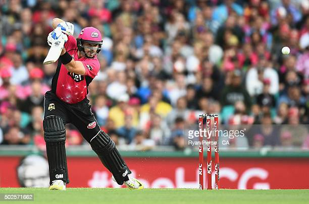 Michael Lumb of the Sixers bats during the Big Bash League match between the Sydney Sixers and the Melbourne Stars at Sydney Cricket Ground on...