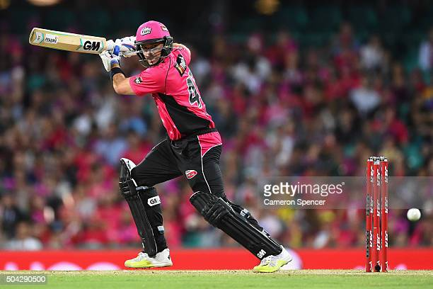 Michael Lumb of the Sixers bats during the Big Bash League match between the Sydney Sixers and the Brisbane Heat at Sydney Cricket Ground on January...
