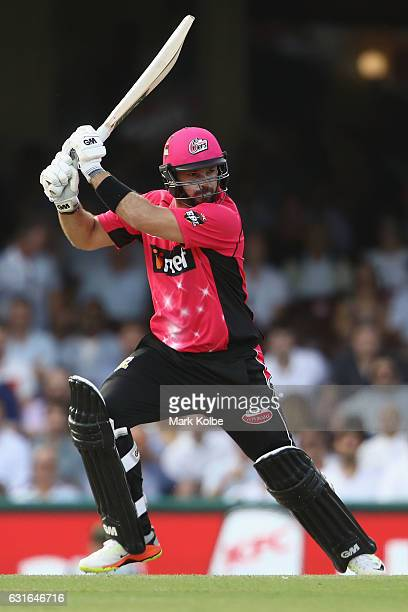 Michael Lumb of the Sixers bats during the Big Bash League match between the Sydney Sixers and the Sydney Thunder at Sydney Cricket Ground on January...