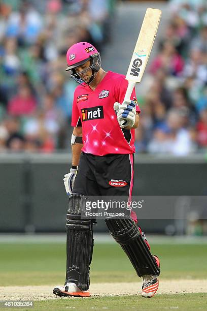 Michael Lumb of the Sixers celebrates his half century during the Big Bash League match between the Melbourne Stars and the Sydney Sixers at...