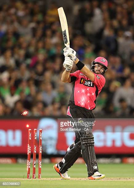 Michael Lumb of the Sixers is bowled out during the Big Bash League match between the Melbourne Stars and the Sydney Sixers at the Melbourne Cricket...