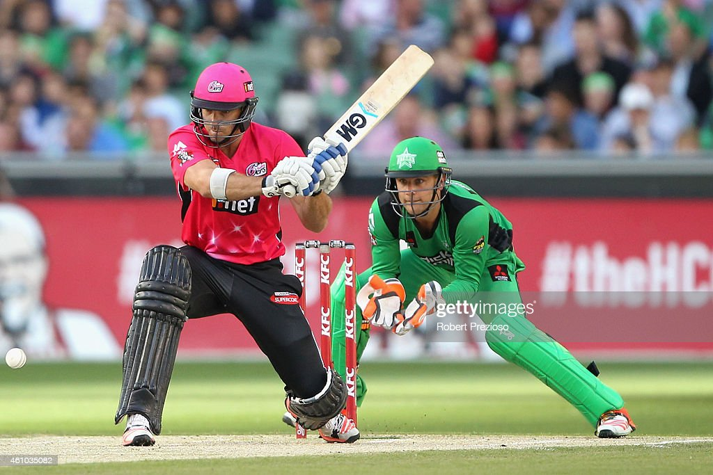 <a gi-track='captionPersonalityLinkClicked' href=/galleries/search?phrase=Michael+Lumb+-+Cricketer&family=editorial&specificpeople=6946049 ng-click='$event.stopPropagation()'>Michael Lumb</a> of the Sixers plays a shot during the Big Bash League match between the Melbourne Stars and the Sydney Sixers at Melbourne Cricket Ground on January 5, 2015 in Melbourne, Australia.