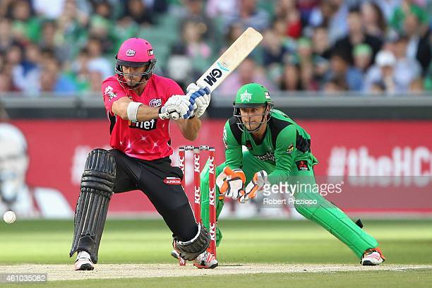 Michael Lumb of the Sixers plays a shot during the Big Bash League match between the Melbourne Stars and the Sydney Sixers at Melbourne Cricket...