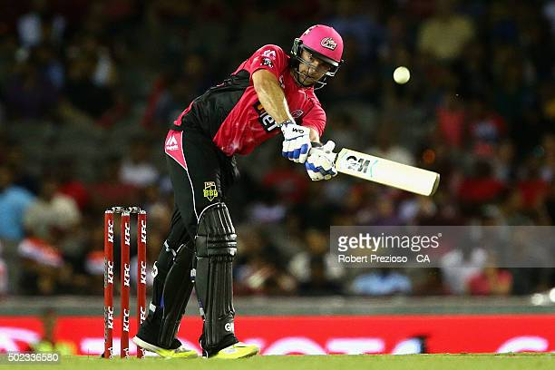 Michael Lumb of the sixers plays a shot during the Big Bash League match between the Melbourne Renegades and the Sydney Sixers at Etihad Stadium on...