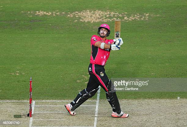 Michael Lumb of the Sydney Sixers bats during the Big Bash League Semi Final match between the Adelaide Strikers and the Sydney Sixers at Adelaide...